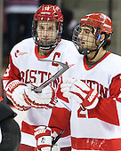 Wade Megan (BU - 18), Sahir Gill (BU - 28) - The visiting Northeastern University Huskies defeated the Boston University Terriers 6-5 on Friday, January 18, 2013, at Agganis Arena in Boston, Massachusetts.