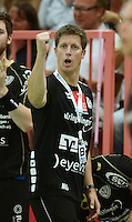 Handball 1. Bundesliga  2012/2013  in der Paul Horn Arena Tuebingen TV Neuhausen - Fuechse Berlin Trainer Markus Gaugisch (TV Neuhausen) jubelt
