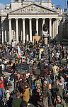 Credit Crunch protest outside bank of England Threadneedle Street. Stop the City march and demonstration against capitalism April 1st City of London while G20 World Leaders Summit meet in London. 2009. Royal Exchange building.
