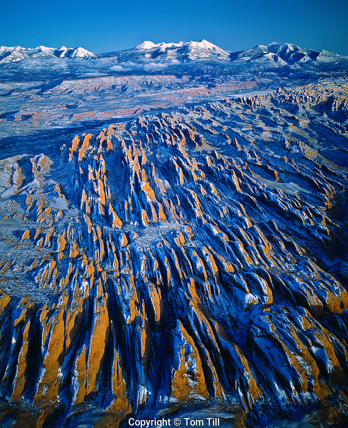 Snow Covered Fins, Proposed Behind-the-Rocks  BLM Wilderness, Utah    La Sal Mountains beyoond