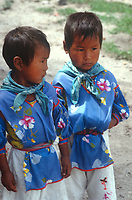 Twin boys, Wixarika (Huichol) community in the Sierra Madre Occidental, Mexico