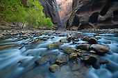 The Virgin River and Virgin River Canyon in Zion National Park, Utah
