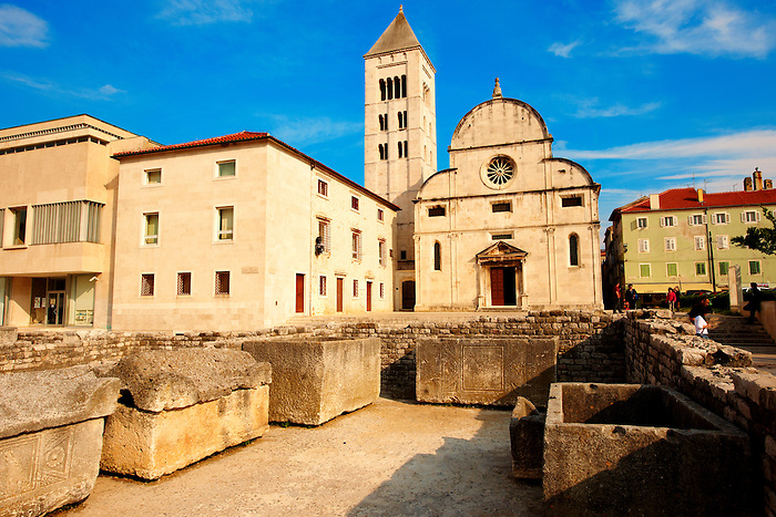 Romaesque facade of the church of St Mary - date from 1105 - Zadar, Croatia