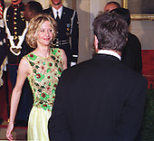 Meg Ryan and Dennis Quaid attend the State Dinner in honor of King Juan Carlos of Spain at the White House in Washington, DC on February 23, 2000..Credit: Ron Sachs / CNP