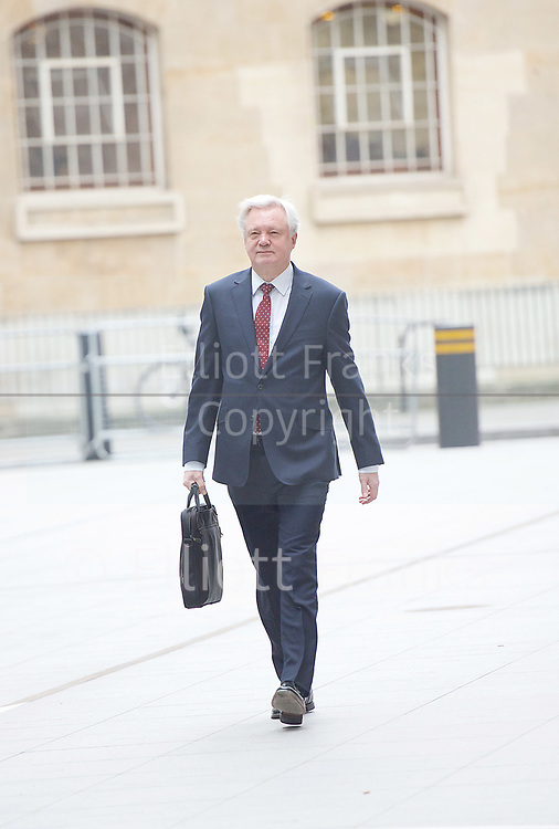 Andrew Marr Show arrivals <br /> BBC, Broadcasting House, London, Great Britain <br /> 12th March 2017 <br /> <br /> <br /> David Davis MP<br /> Secretary of State for Exiting the<br /> European Union<br /> arriving at the Marr Show <br /> <br /> <br /> Photograph by Elliott Franks <br /> Image licensed to Elliott Franks Photography Services