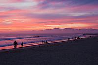Venice CA, ,Washington Street Pier, Beautiful  Fire Red Sky, Sunset