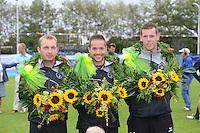 KAATSEN: DAMWALD: kaatsvereniging Nut en Nocht, 16-08-2014, Hoofdklasse Heren, gewonnen door Johan van der Meulen, Renze Pieter Hiemstra en Hylke Bruinsma, ©foto Martin de Jong