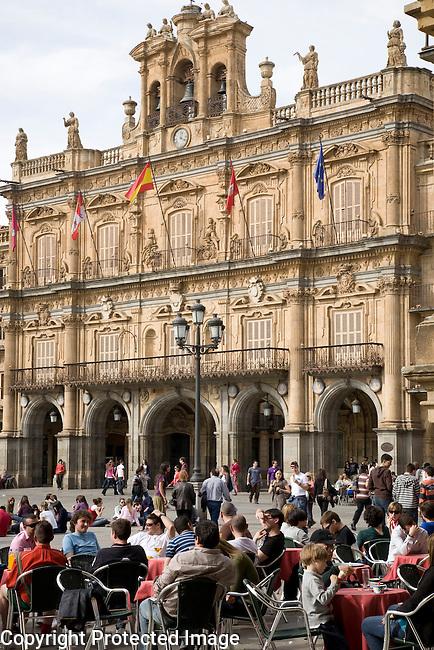Ayuntamiento - Town Hall, Plaza Mayor Main Square, Salamanca, Castile and Leon, Spain