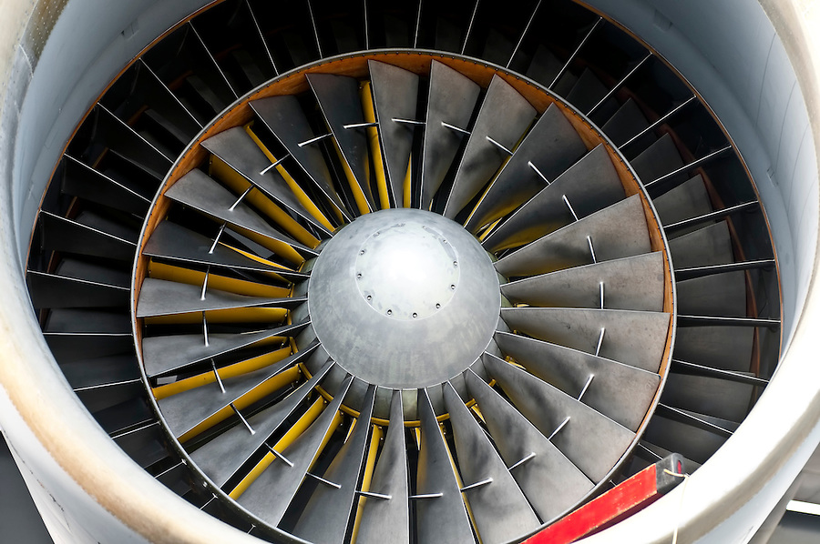 Close up of powerful aircraft engine turbine