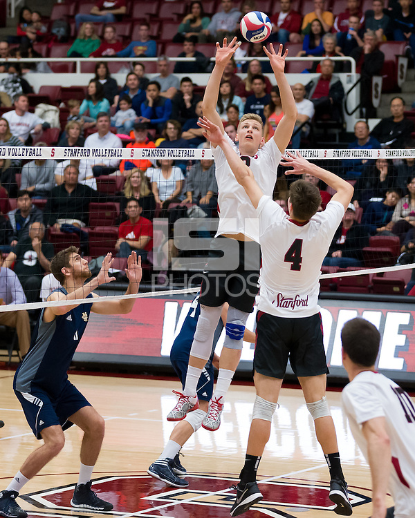 STANFORD, CA - February 8, 2014: Stanford men's volleyball team defeat UC Irvine, 25-20, 25-21, 25-19 at Maples Pavilion.