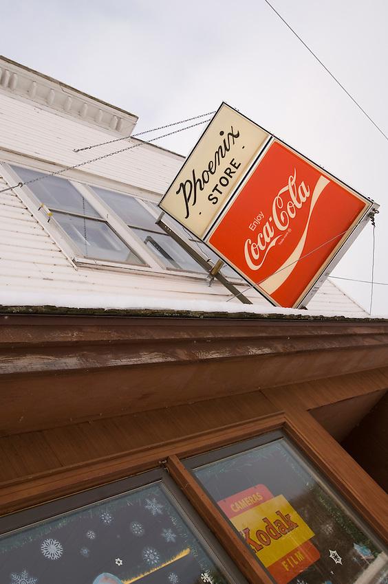 The historic Phoenix Store in Phoenix Michigan along snowmobile Trail 3 on the Keweenaw Peninsula of Michigan's Upper Peninsula.