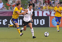 Megan Rapinoe #11, Therese Sjogran...USWNT tied Sweden 1-1 at Morrison Stadium, Omaha Nebraska.