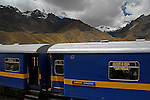 South America, Peru, La Raya. Andean Explorer train cars at La Raya, the highest point of elevation for the rail journey from Cusco to Puno.