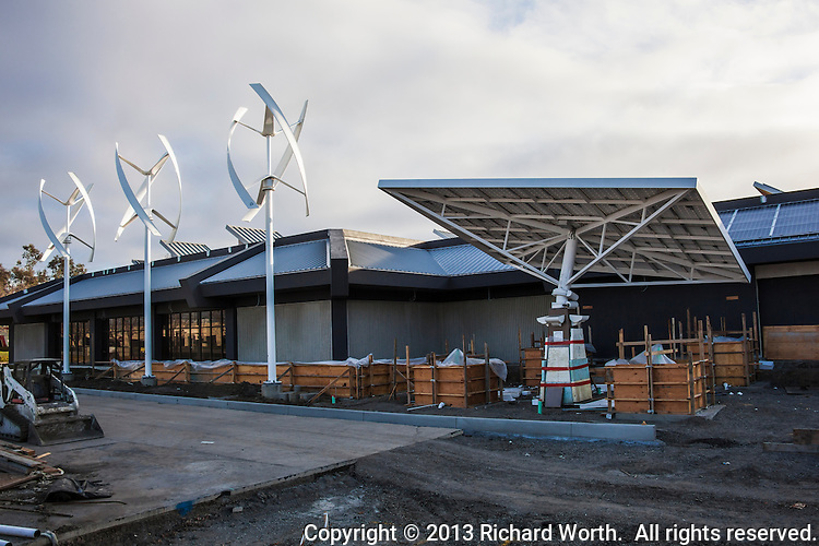 Vertical axis wind turbines and a solar tracking tree at the Zero Net Energy Center under construction near San Francisco, California.