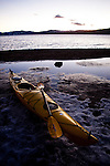 A kayak sits on ice covered Lake Tahoe beach at Kings Beach, Calif., January 19, 2011.