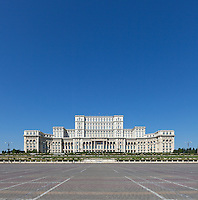 Front Facade. The Palace of the Parliament (Also known as Ceausescu&rsquo;s Palace or House of The People) in Bucharest, Romania. Built 1983-1989. Architect: Anca Petrescu
