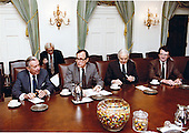 United States Vice President George H.W. Bush chairs a Cabinet Meeting in the Cabinet Room of the White House in Washington, D.C. on March 31, 1981.  Bush has temporarily taken over the duties of the Chief Executive following the assassination attempt on U.S. President Ronald Reagan the day before.  Seated at the table from left to right: U.S. Secretary of the Treasury Donald T. Regan, Vice President Bush, U.S. Attorney General William French Smith, and U.S. Secretary of Labor Raymond J. Donovan.<br /> Mandatory Credit: Michael Evans / White House via CNP
