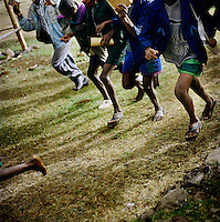 Students run to school for the morning lessons, through enthusiasm, not because they are late. In recent years in Ethiopia, nearly five million children have been brought into primary education although 40% of children - some 7 million kids - still do not attend school...