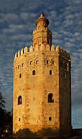 General view of Torre del Oro (Tower of Gold), Seville, Spain, pictured on December 30, 2006, in the afternoon. The tower, first half of the 13th century, is dodecagonal in shape and divided into three levels. The circular top level was added in 1760. It served as an observation post at the entrance to the port on the Guadalquivir River during the conquest of Americas. Today it houses the city's Naval Museum. Picture by Manuel Cohen.