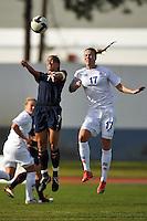 US Women's National Team Captain #7 Shannon Boxx wins a header against Iceland #17 Ellinborg Ingvarsdottir in Vila Real Sto. Antonio in the Algarve Cup, Portugal.