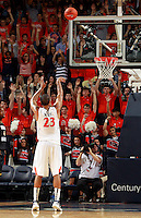 CHARLOTTESVILLE, VA- DECEMBER 6: Mike Scott #23 of the Virginia Cavaliers shoots a free throw basket during the game on December 6, 2011 against the George Mason Patriots at the John Paul Jones Arena in Charlottesville, Virginia. Virginia defeated George Mason 68-48. (Photo by Andrew Shurtleff/Getty Images) *** Local Caption *** Local Caption*** Mike Scott