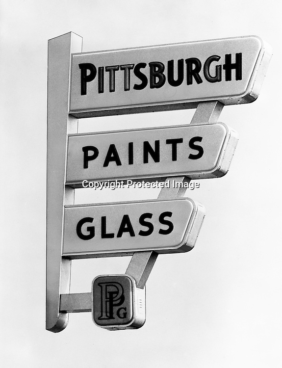 Pittsburgh PA - PPG Store Sign, Pittsburgh Paints Glass, Pittsburgh Paints, Pittsburgh Plate Glass, PPG - 1955