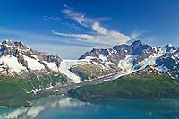 Aerial of Serpentine glacier and Mount Gilbert, Chugach mountains, Harriman Fjord, Prince William Sound, Alaska