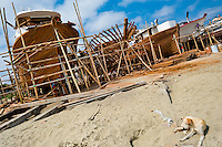 A dog lies on the sand in front of traditional wooden fishing vessels in an artisanal shipyard on the beach in Manta, Ecuador, 14 September 2012. The construction process takes 3-4 months to complete, depending on the ship size and purpose (fish capture methods). Although a wooden boat tends to be more stable on the sea and less expensive to build (up to $0.5 million USD), it needs a maintenance every 2 years, while a fiberglass-made boat, costing almost double the wooden one, may serve 5-6 years without any repairs. The shipyard produces 6-8 vessels every year.