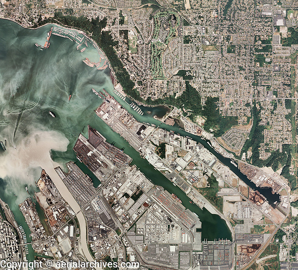 aerial map view above Tacoma Washington harbor