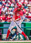 31 May 2014: Washington Nationals outfielder Denard Span at bat against the Texas Rangers at Nationals Park in Washington, DC. The Nationals defeated the Rangers 10-2, notching a second win of their 3-game inter-league series. Mandatory Credit: Ed Wolfstein Photo *** RAW (NEF) Image File Available ***
