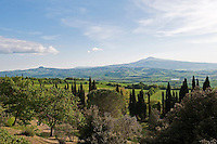 Monte Amiata dominates the landscape beyond La Foce