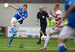 Hamilton Accies v St Johnstone...16.08.14  SPFL<br /> David Wotherspoon's shot is blocked by Ali Crawford<br /> Picture by Graeme Hart.<br /> Copyright Perthshire Picture Agency<br /> Tel: 01738 623350  Mobile: 07990 594431