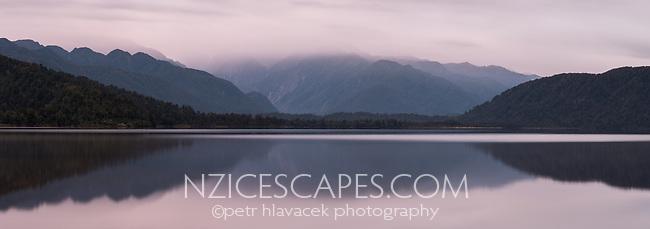 Dawn over Lake Mapourika, Westland Tai Poutini National Park, UNESCO World Heritage Area, West Coast, New Zealand, NZ
