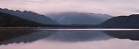 Dawn over Lake Mapourika, Westland Tai Poutini National Park, UNESCO World Heritage Area, West Coast, New Zealand, NZ