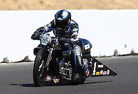 Jul. 27, 2013; Sonoma, CA, USA: NHRA pro stock motorcycle rider Eddie Krawiec during qualifying for the Sonoma Nationals at Sonoma Raceway. Mandatory Credit: Mark J. Rebilas-