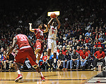 "Ole Miss' Jarvis Summers (32) vs. Arkansas' Kikko Haydar (20) at the C.M. ""Tad"" Smith Coliseum in Oxford, Miss. on Saturday, January 19, 2013. Mississippi won 76-64. (AP Photo/Oxford Eagle, Bruce Newman)"