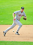 25 July 2010: Tri-City ValleyCats infielder Michael Kvasnicka in action against the Vermont Lake Monsters at Centennial Field in Burlington, Vermont. The ValleyCats came from behind to defeat the Lake Monsters 10-8 in NY Penn League action. Mandatory Credit: Ed Wolfstein Photo