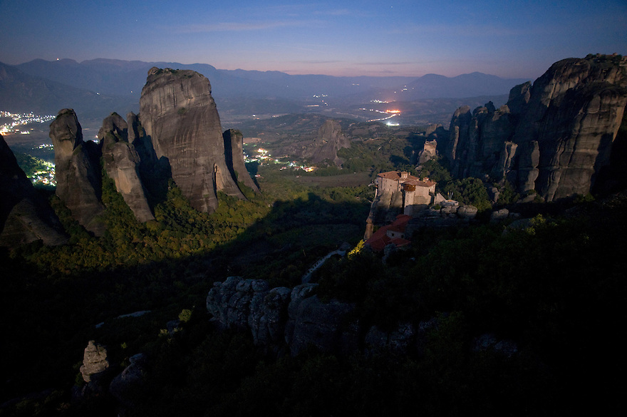 Greece, Meteora, Roussanou Monastery in light of rising Moon