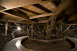 """Photo shows the underside of the mawaributai revolving stage, which is powered by hand, at Korakukan theater, Japan's oldest extant wooden playhouse in Kosaka, Akita Prefecture Japan on 19 Dec. 2012. Located in the lower reaches of the theater, the area where the contraption is located is called """"naraku,"""" a Hindu loanword that refers to Hedes.  Photographer: Robert Gilhooly"""