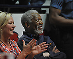 "Morgan Freeman watches Ole Miss vs. Kentucky at the C.M. ""Tad"" Smith Coliseum on Tuesday, January 29, 2013. Kentucky won 87-74. (AP Photo/Oxford Eagle, Bruce Newman).."