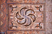 Berber design wooden door panel, Tamedaght, Morroco.