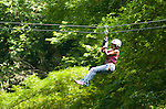 Mrs Lorna Goldman riding the zip lines at Chukka near Montego Bay.