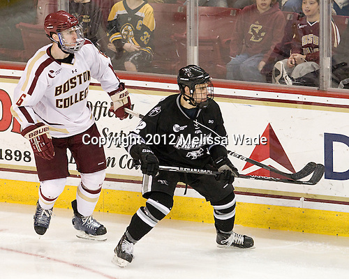 Patrick Wey (BC - 6), Stefan Demopoulos (PC - 12) - The Boston College Eagles defeated the Providence College Friars 7-0 on Saturday, February 25, 2012, at Kelley Rink at Conte Forum in Chestnut Hill, Massachusetts.