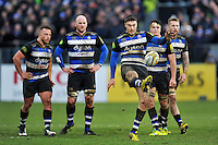 Matt Banahan of Bath Rugby kicks for touch. Aviva Premiership match, between Bath Rugby and Wasps on February 20, 2016 at the Recreation Ground in Bath, England. Photo by: Patrick Khachfe / Onside Images