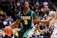 WEST LAFAYETTE, IN - DECEMBER 29: Marcus Thornton #3 of the William &amp; Mary Tribe dribbles the ball in the back court as Terone Johnson #0 of the Purdue Boilermakers defends at Mackey Arena on December 29, 2012 in West Lafayette, Indiana. Purdue defeated William &amp; Mary 73-66. (Photo by Michael Hickey/Getty Images) *** Local Caption *** Marcus Thornton; Terone Johnson