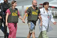 BOGOT&Aacute; -COLOMBIA. 15-06-2013.  &Aacute;ngel S&aacute;nchez Fern&aacute;ndez y  Mar&iacute;a Marlaska Sedano a su llegada a la ciudad de Bogot&aacute;, Colombia despu&eacute;s de haber sido rescatados por el Gaula de la Polic&iacute;a Nacional en el departamento de La Guajira, Colombia./ Angel Sanchez Fernandez and Maria Marlaska Sedano during thieir arrival to Bogot&aacute;, Colombia after being recaed by Gaula of National Police of Colombia in Rioacha department. Photo: VizzorImage/Mauricio Orjuela/MDC/ CONT<br /> MANDATORY EDITORIAL USE ONLY - NO ADVERTISING - NO SALES - MANDTORY CREDIT MAURICIO ORJUELA MDC