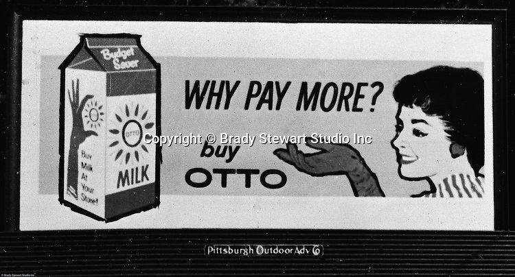 Client: Otto Milk Dairy<br /> Ad Agency: Ketchum, MacLeod &amp; Grove<br /> Contact: Mr Ballintine<br /> Product: Otto Milk<br /> Location: East Liberty<br /> <br /> View of a layout of an Otto Milk Billboard advertisement.  Location photography of outdoor billboard for Ketchum Advertising