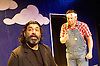 Socrates and his clouds<br /> by William Lyons<br /> <br /> at the Jermyn Street Theatre, London, Great Britain <br /> <br /> press photocell<br /> 4th June 2013 <br /> <br /> Alexander Andreou as Socrates<br /> <br /> Paul Hutton as Strepsiades<br /> <br /> Jack Montgomery as Phidippides<br /> <br /> Photograph by Elliott Franks
