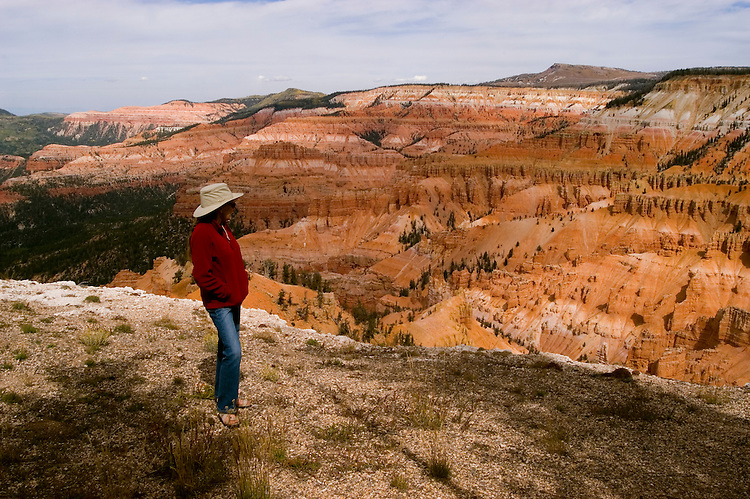 Woman at Cedar Breaks National Monument, Utah, UT, view, vista from Point Supreme, nature, landscape, erosion, arid, model released, Image ut309-17452, Photo copyright: Lee Foster, www.fostertravel.com, lee@fostertravel.com, 510-549-2202