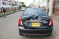 Car rear damage made by the collision with Superman Salas - Colombia